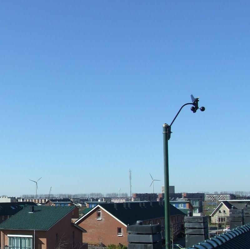Windmeter op 10 meter hoogte.
